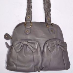 Isabella Fiore Gray Leather Braided Handle Purse